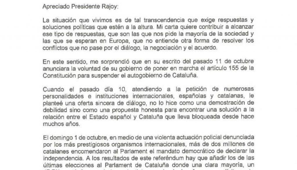 Puigdemont a Rajoy aujourd'hui 16/10/2017